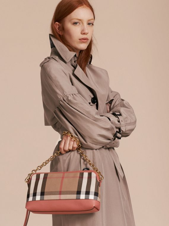 House Check and Leather Clutch Bag in Cinnamon Red - Women | Burberry - cell image 3