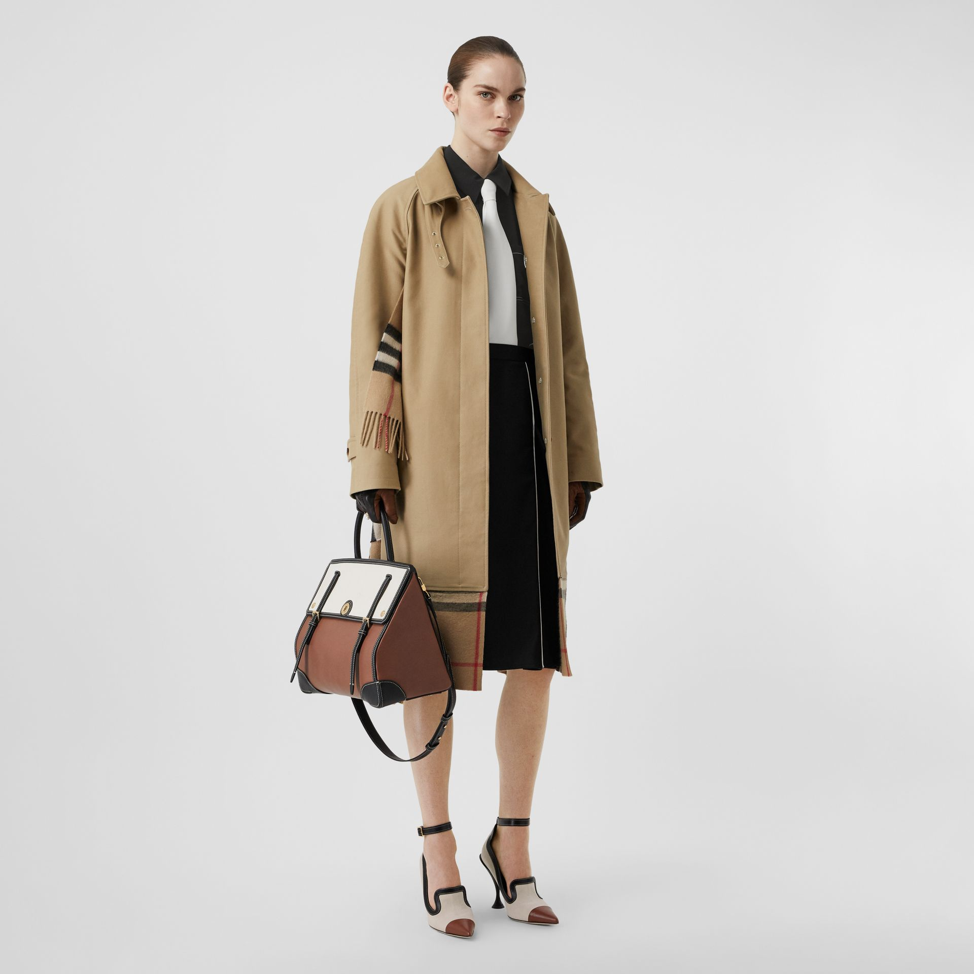 Scarf Detail Cotton Gabardine Car Coat in Honey - Women | Burberry - gallery image 0