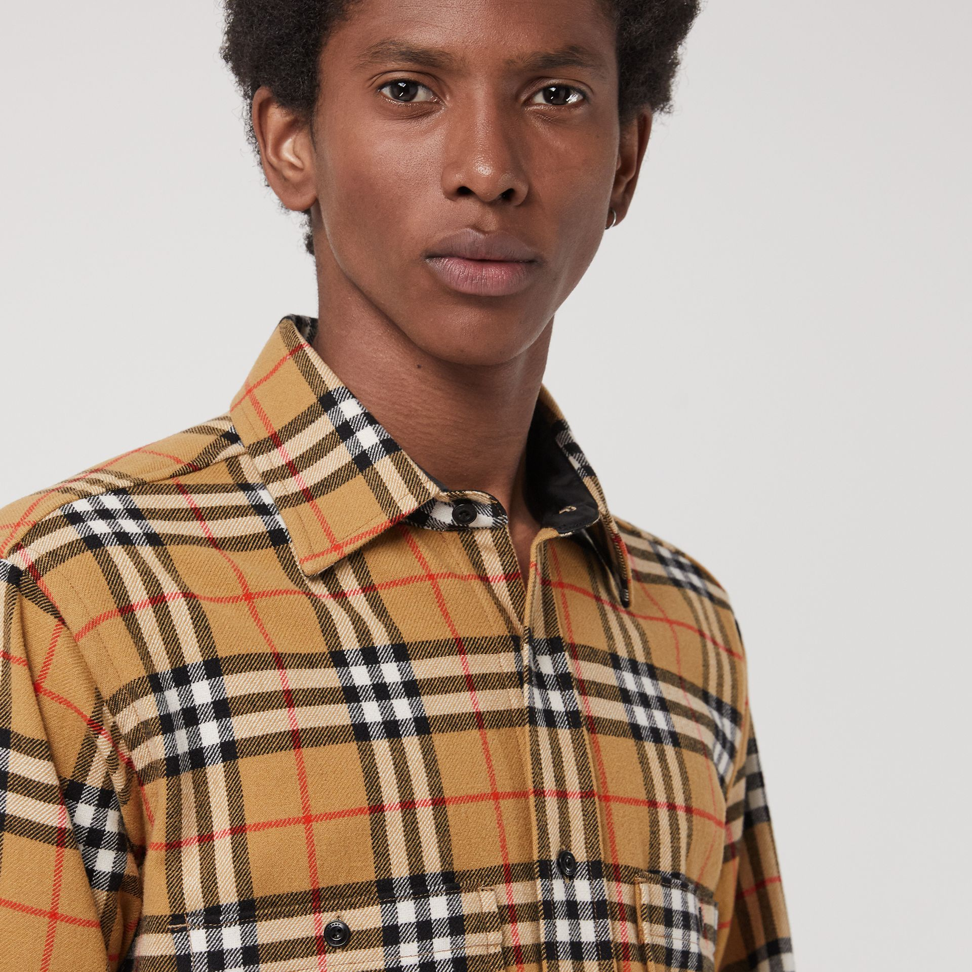 Vintage Check Cotton Flannel Shirt in Antique Yellow - Men | Burberry United Kingdom - gallery image 1