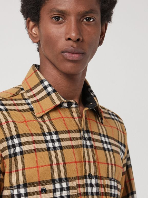 Vintage Check Cotton Flannel Shirt in Antique Yellow - Men | Burberry United Kingdom - cell image 1