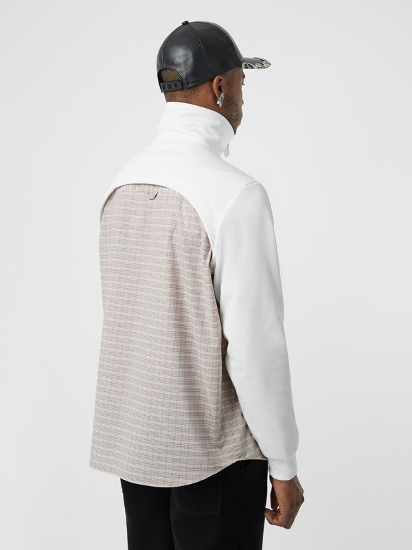 Track Top Detail Small Scale Check Cotton Shirt in Beige/natural White - Men | Burberry - cell image 2