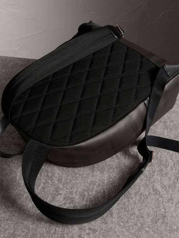 Leather Trim London Check Backpack in Chocolate/black - Men | Burberry - cell image 3