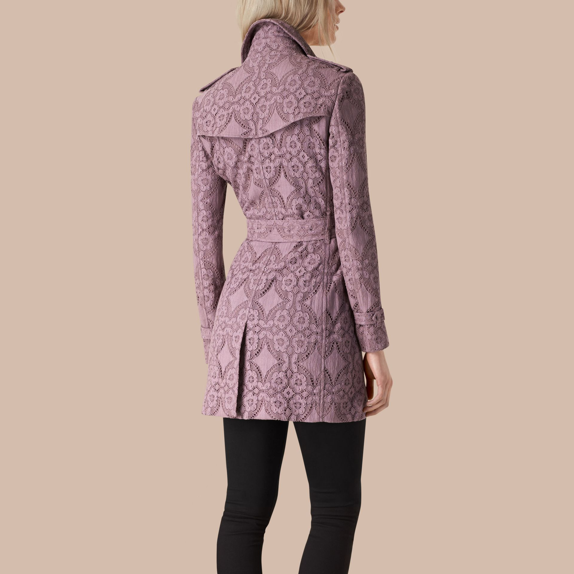 Pale mauve Gabardine Lace Trench Coat - gallery image 2