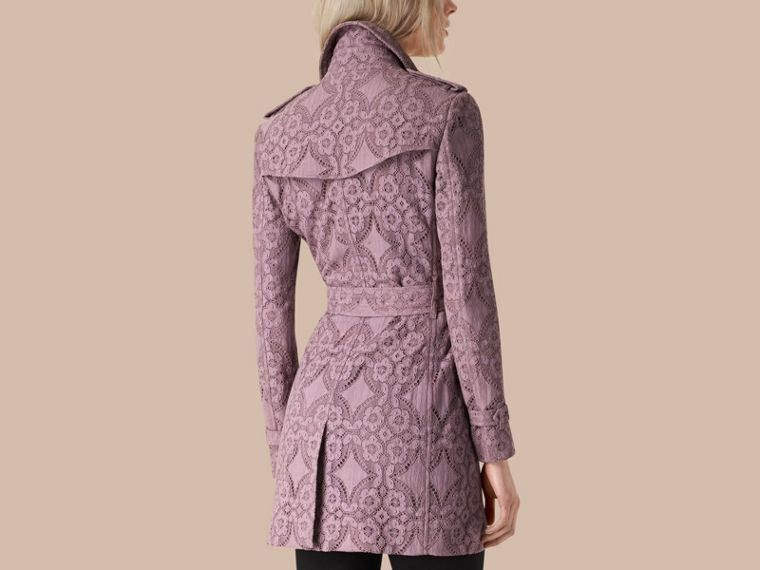 Pale mauve Gabardine Lace Trench Coat - cell image 1