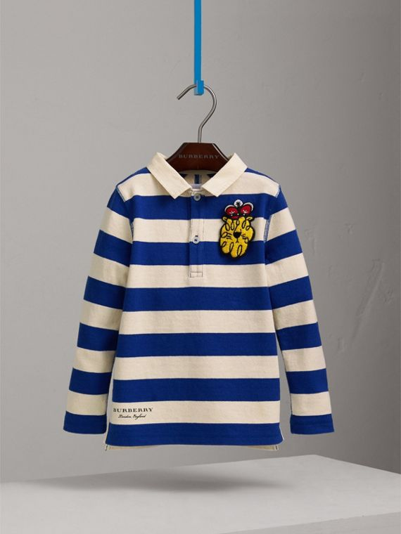 London Icons Motif Cotton Rugby Shirt in Cobalt Blue/natural White - Boy | Burberry - cell image 2