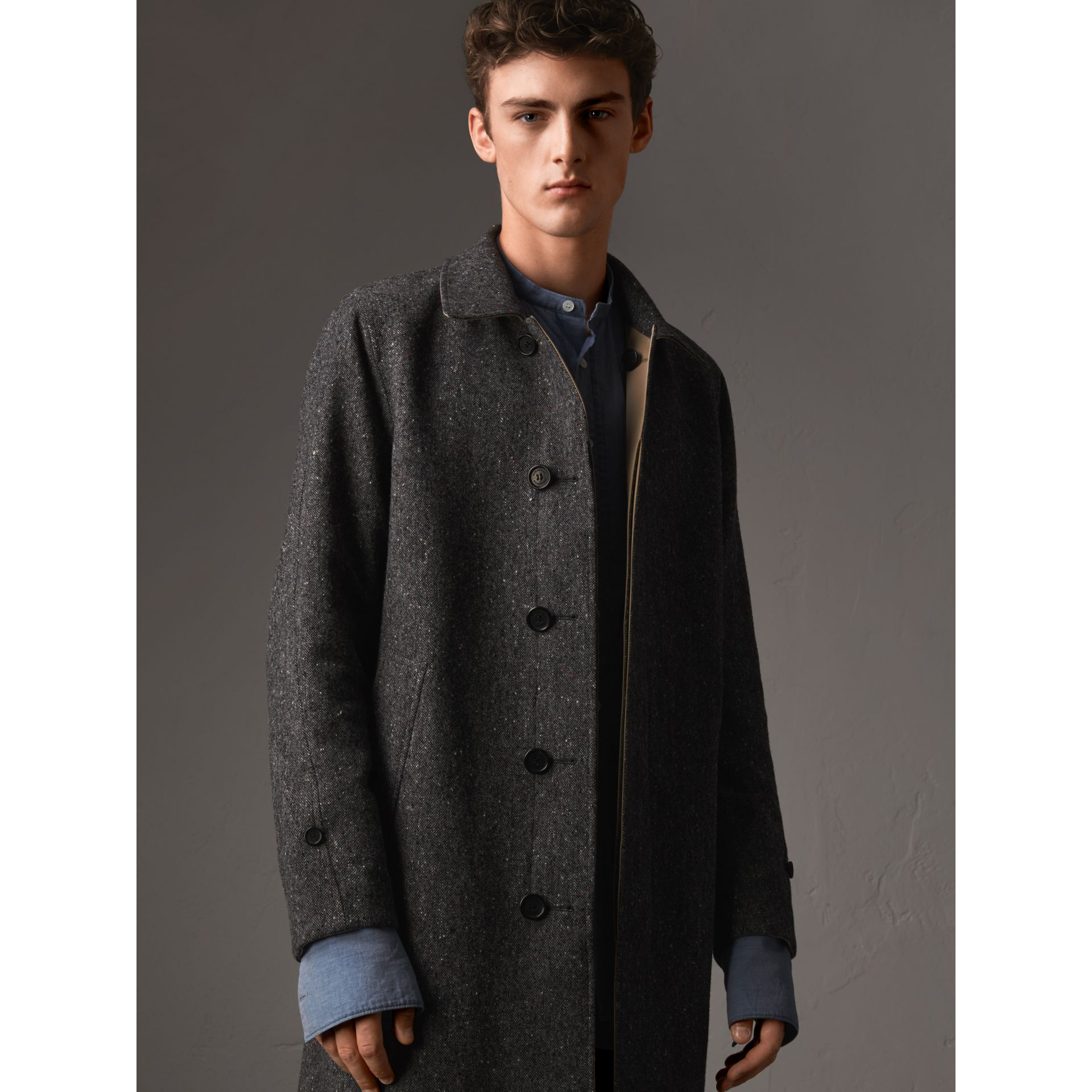 Reversible Gabardine and Donegal Tweed Car Coat in Honey - Men | Burberry Australia - gallery image 1