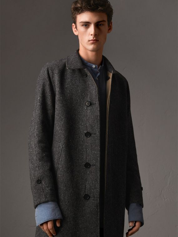Car coat dupla face de tweed Donegal de lã e gabardine - Homens | Burberry