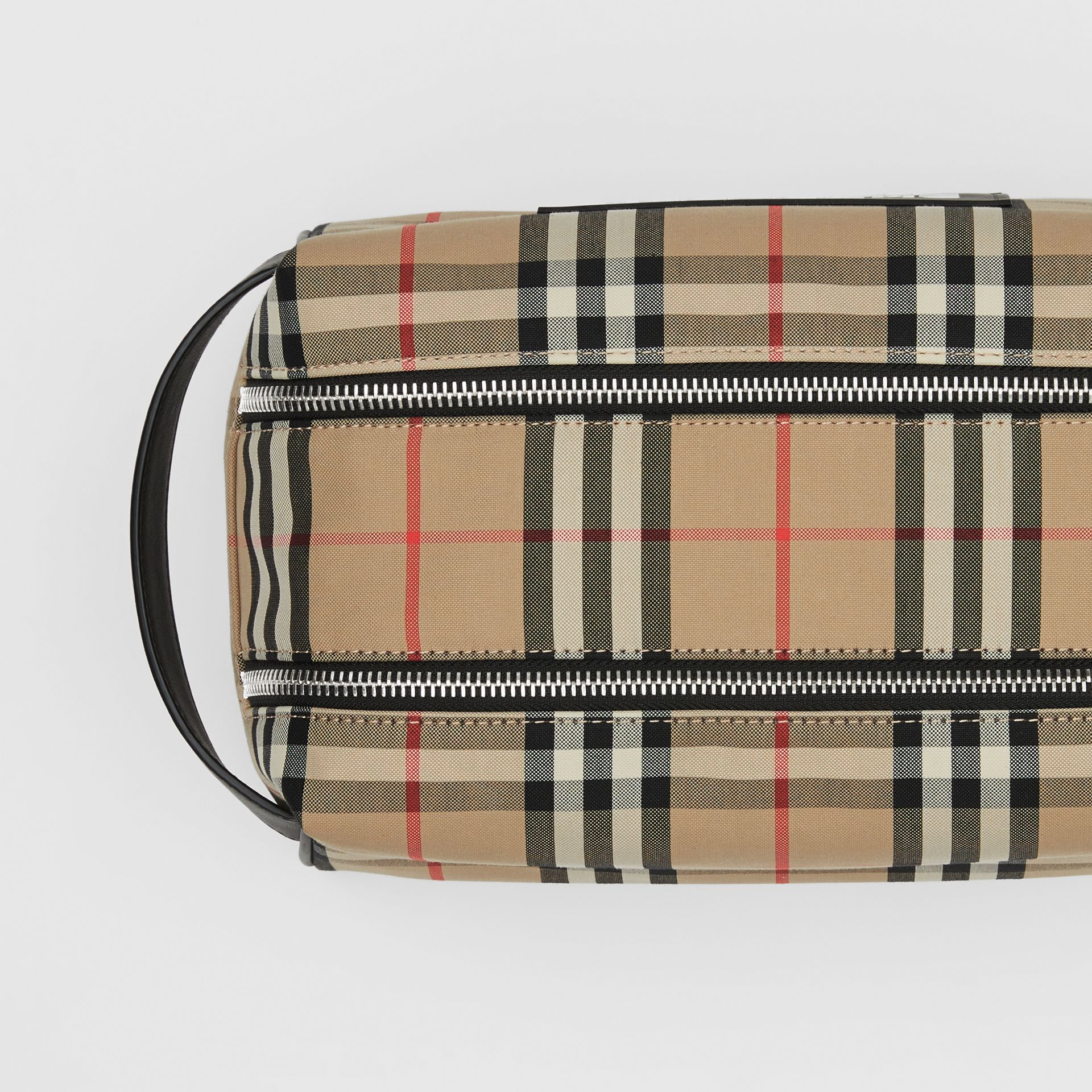 Logo Appliqué Vintage Check Travel Pouch in Archive Beige - Men | Burberry - gallery image 1