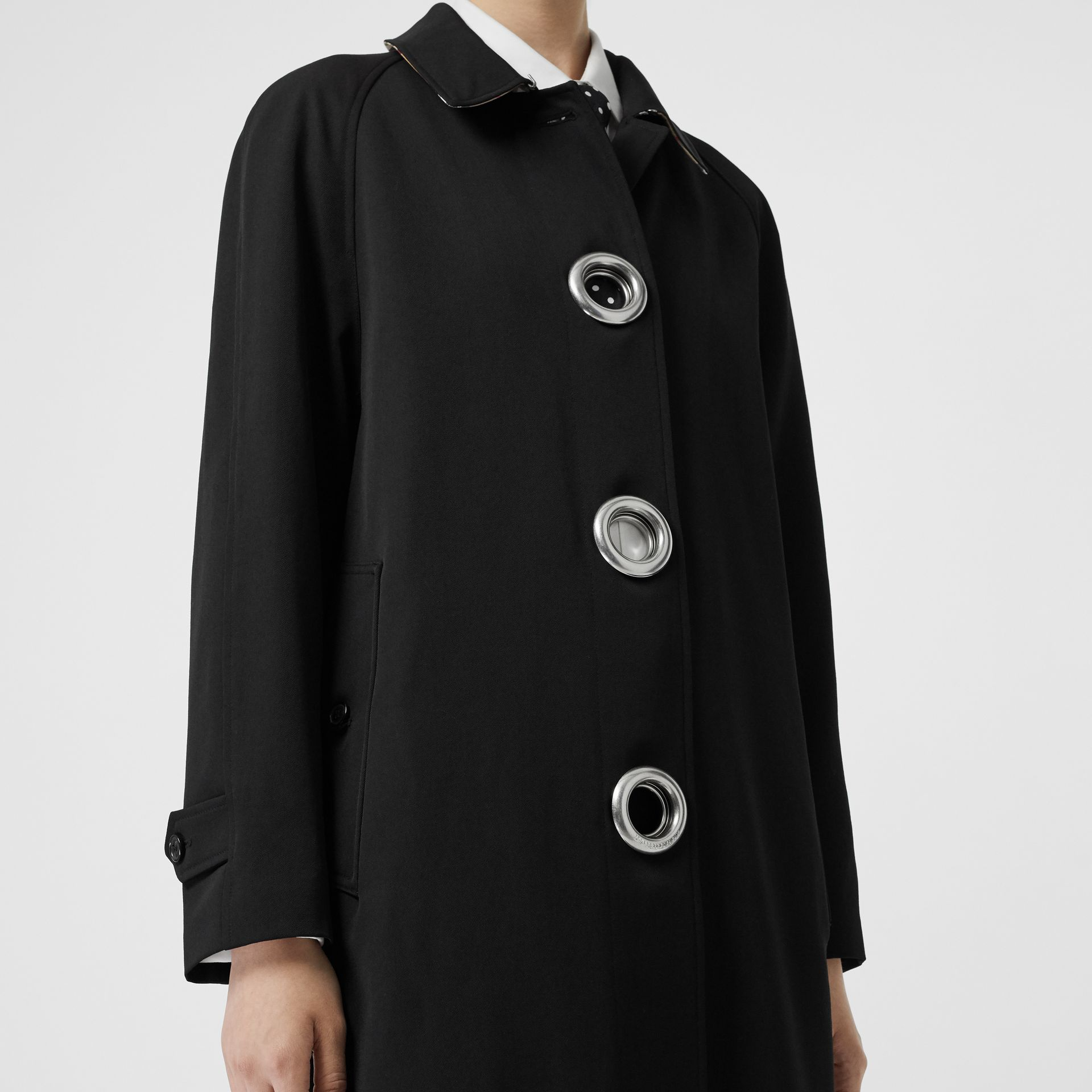 Grommet Detail Wool Gabardine Car Coat in Black - Women | Burberry United Kingdom - gallery image 5