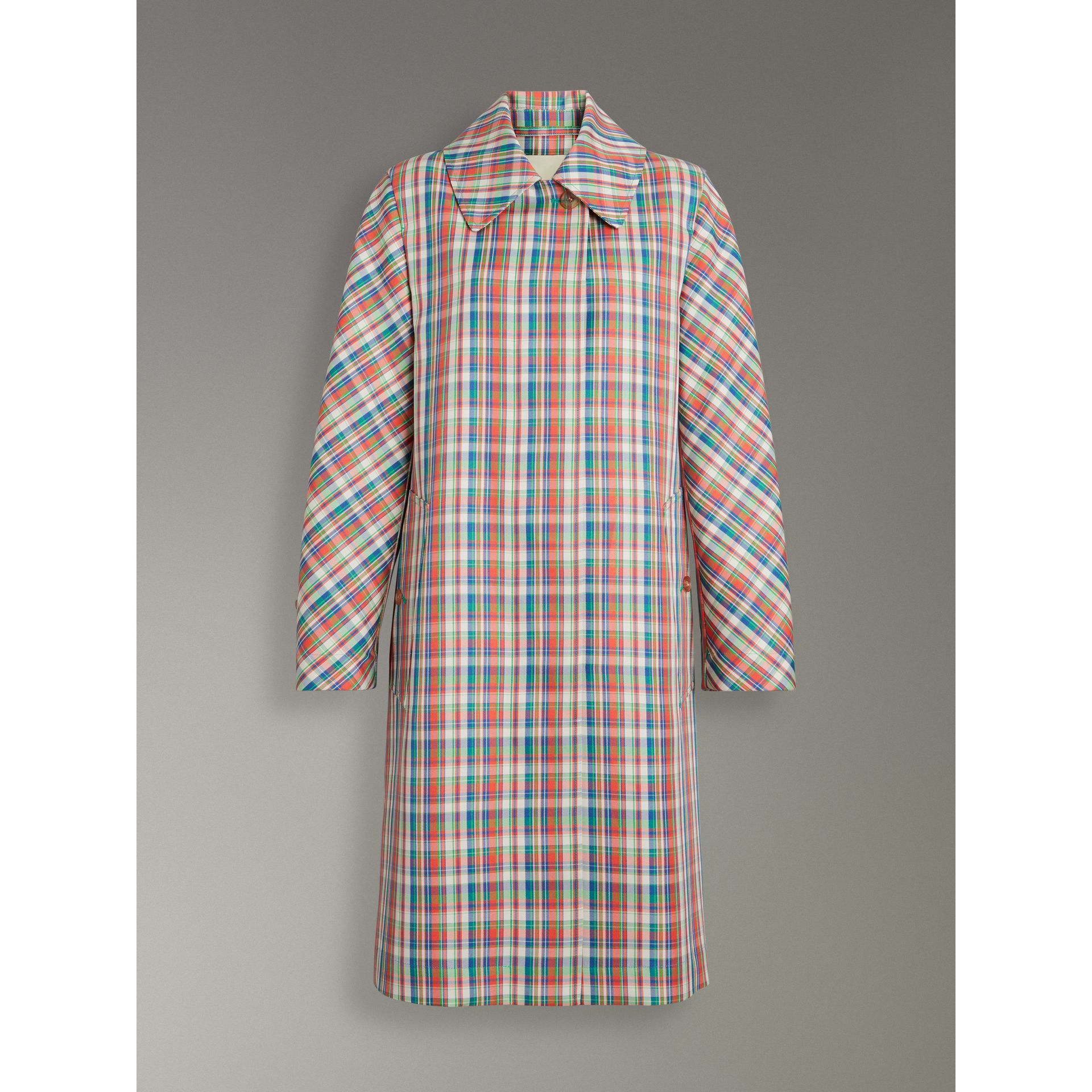 Micro Check Silk Blend Car Coat in Bright Red - Women | Burberry - gallery image 3