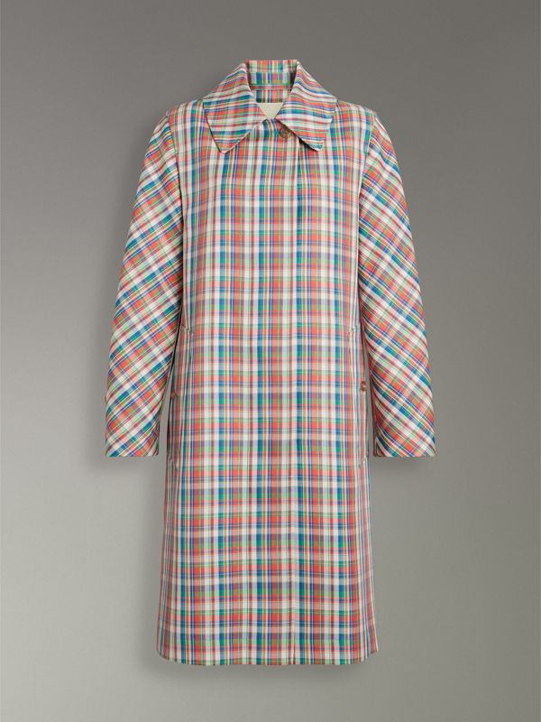 Micro Check Silk Blend Car Coat in Bright Red - Women | Burberry - cell image 3