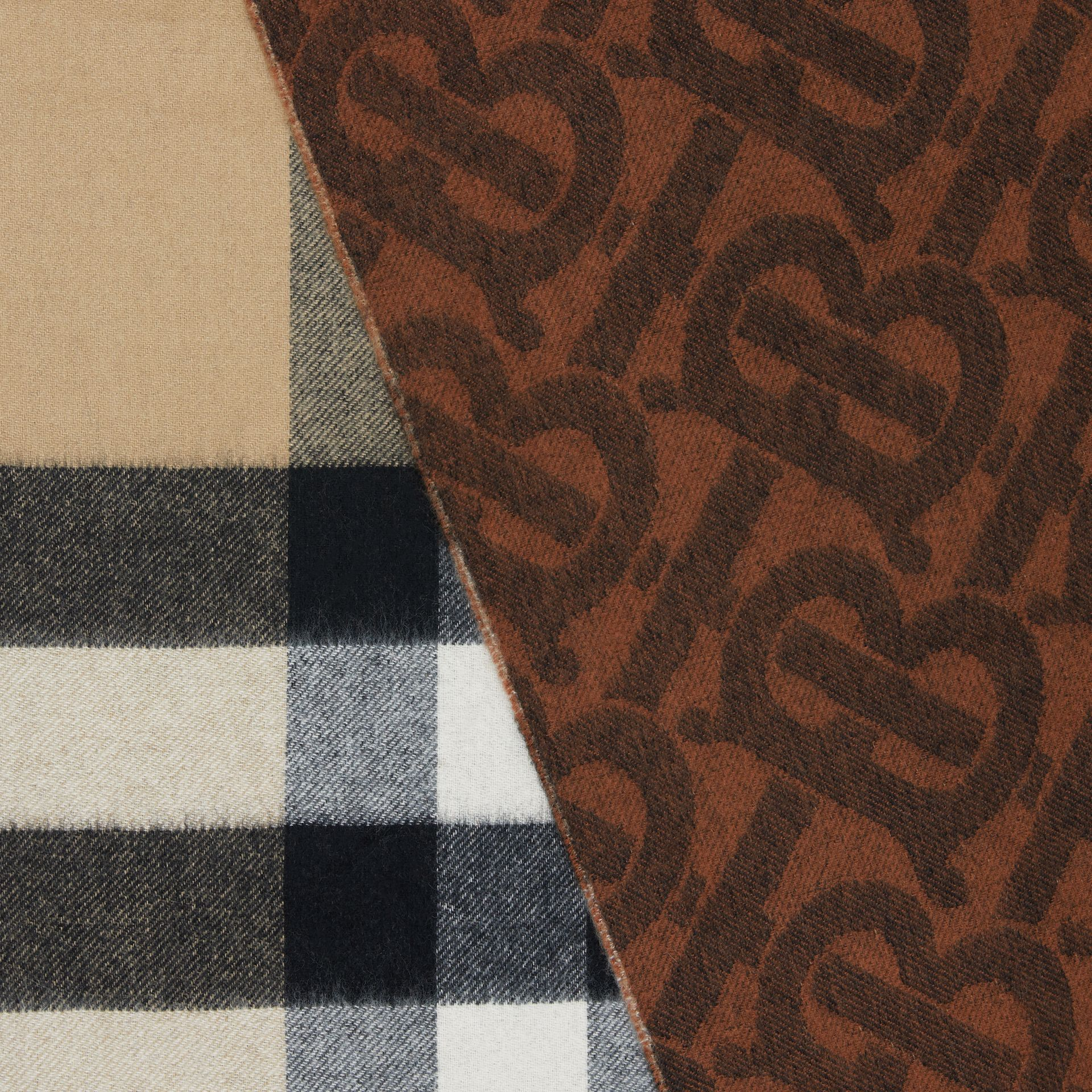 Reversible Check and Monogram Cashmere Scarf in Dark Chestnut Brown | Burberry - gallery image 1