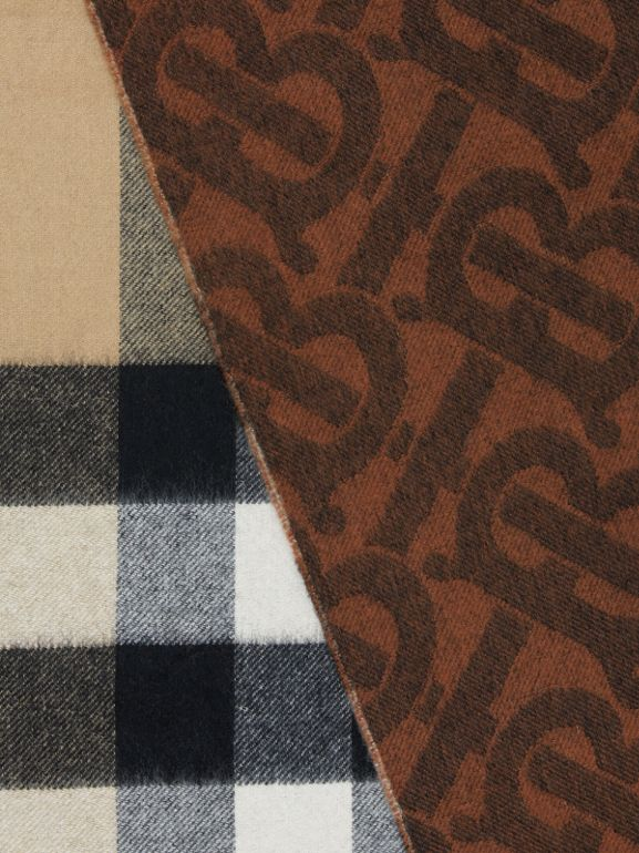 Reversible Check and Monogram Cashmere Scarf in Dark Chestnut Brown | Burberry - cell image 1