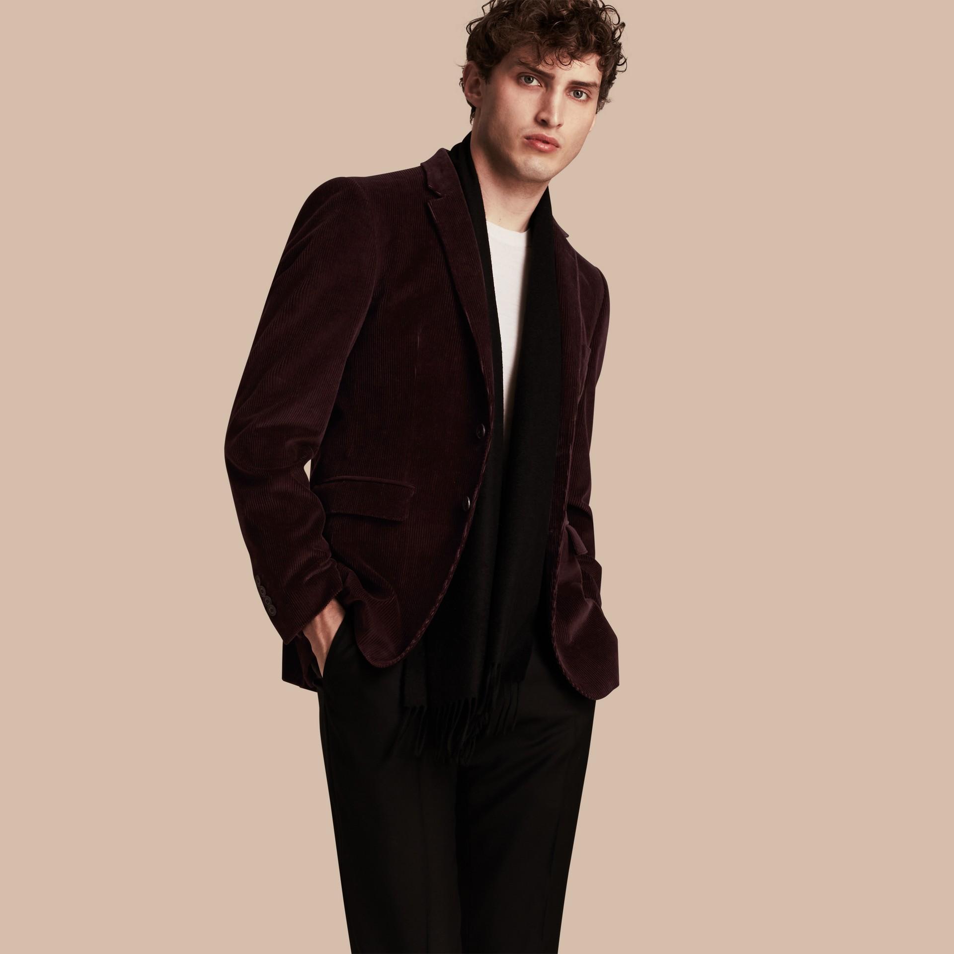 Violet indigo Veste de costume slim en coton côtelé - photo de la galerie 1