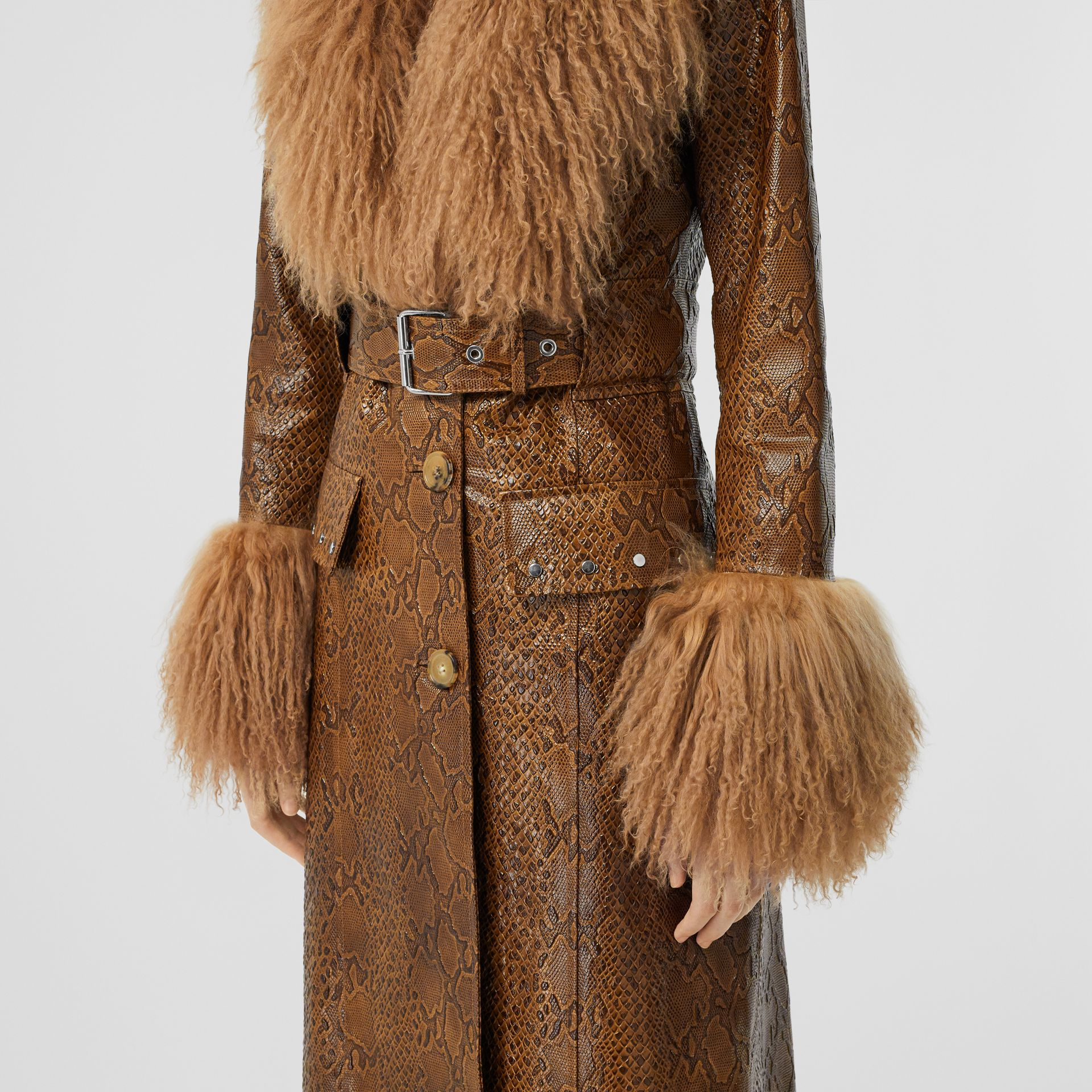 Shearling Trim Python Print Leather Coat in Brown - Women | Burberry United Kingdom - gallery image 1