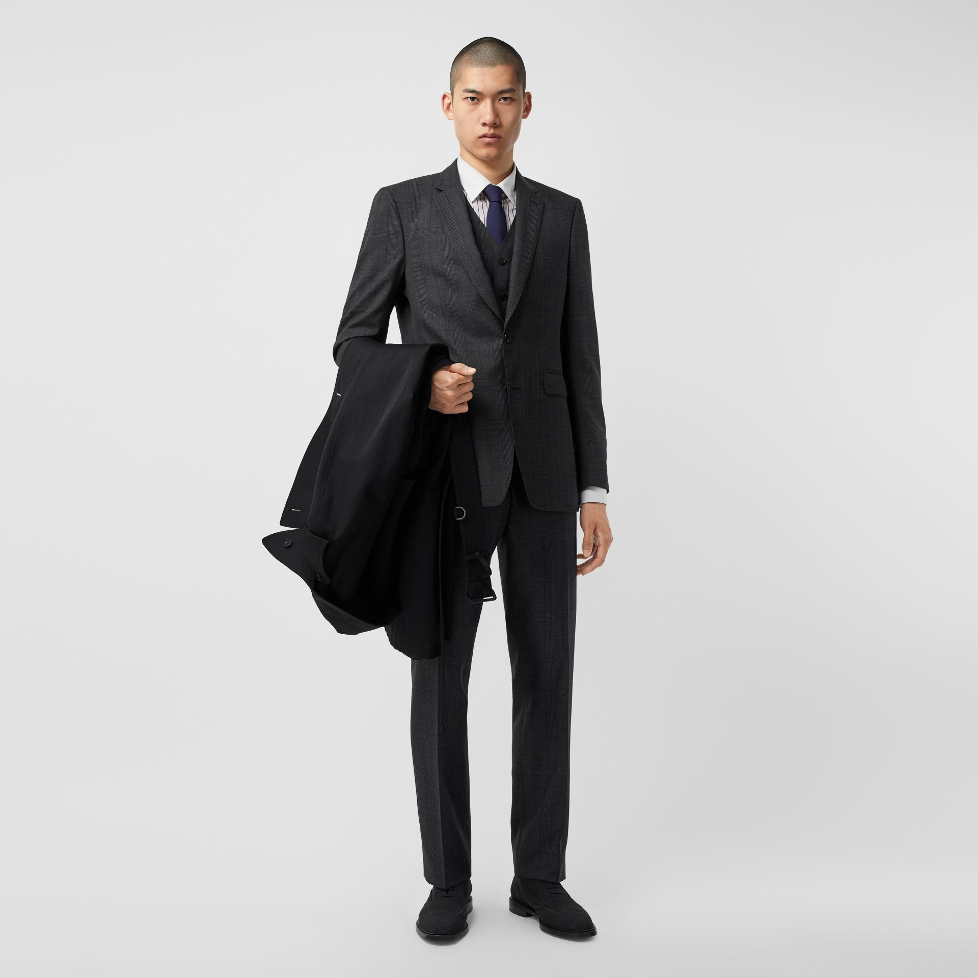 Classic Fit Check Wool Three-piece Suit in Charcoal Melange - Men | Burberry - gallery image 0