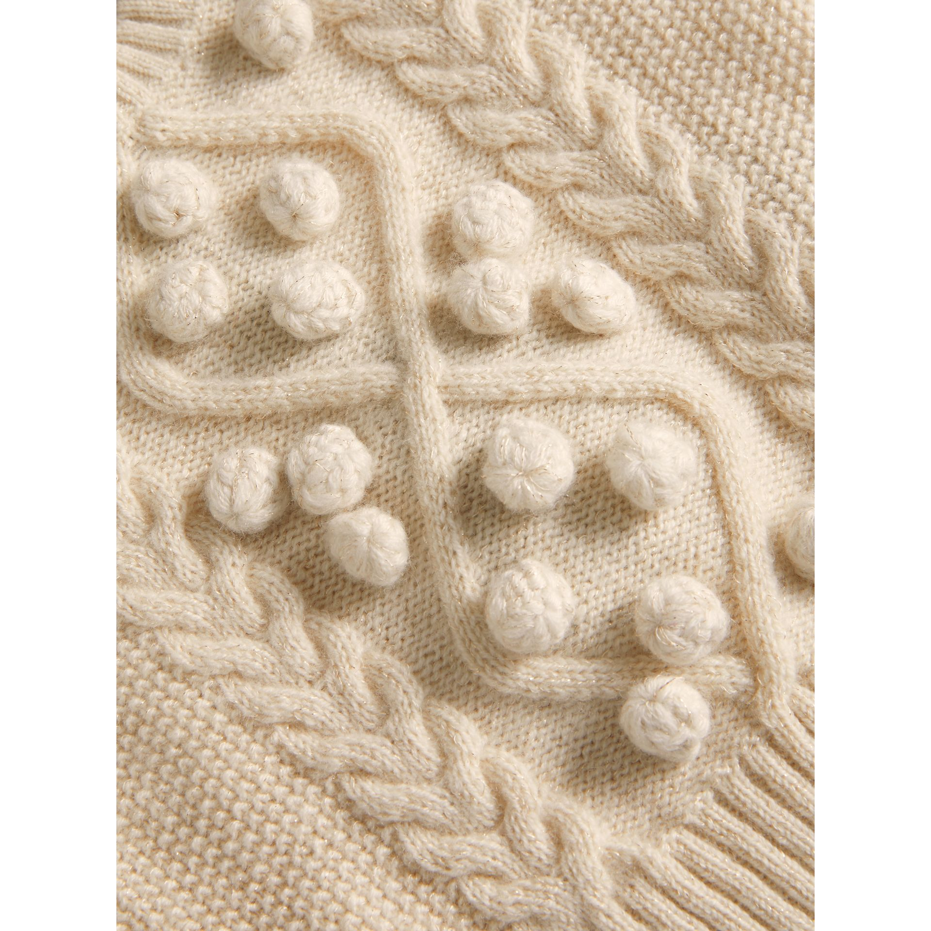 Bobble Cable Knit Cashmere Lurex Blend Sweater in Natural White | Burberry - gallery image 1