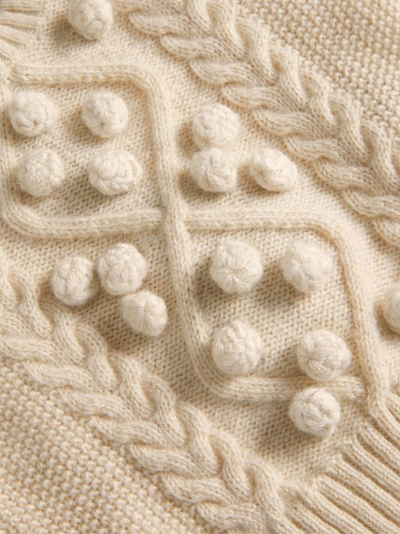 Bobble Cable Knit Cashmere Lurex Blend Sweater in Natural White | Burberry - cell image 1