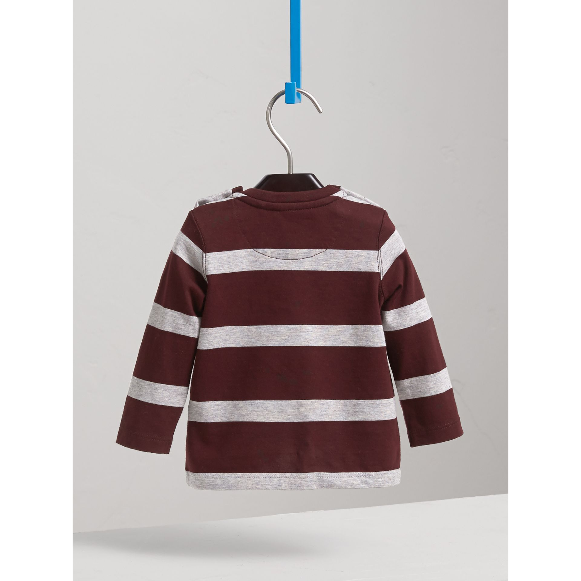 Long-sleeve Striped Cotton Top in Burgundy/grey Melange | Burberry - gallery image 4