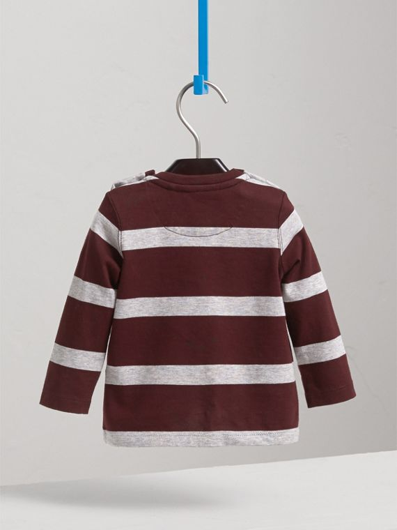 Long-sleeve Striped Cotton Top in Burgundy/grey Melange | Burberry - cell image 3