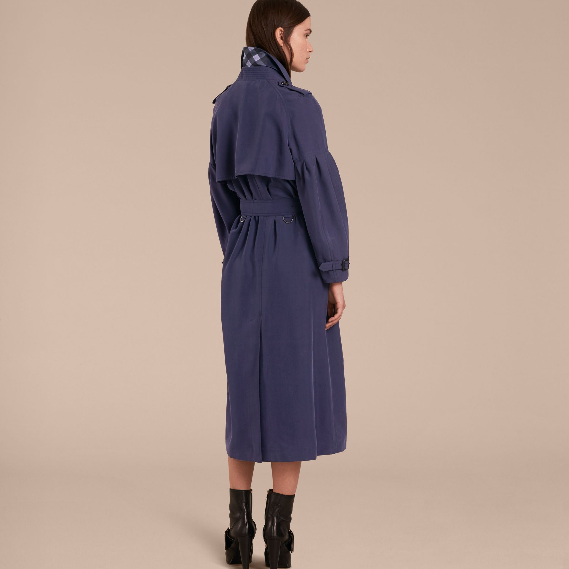 Oversize Silk Trench Coat with Puff Sleeves in Navy - gallery image 3
