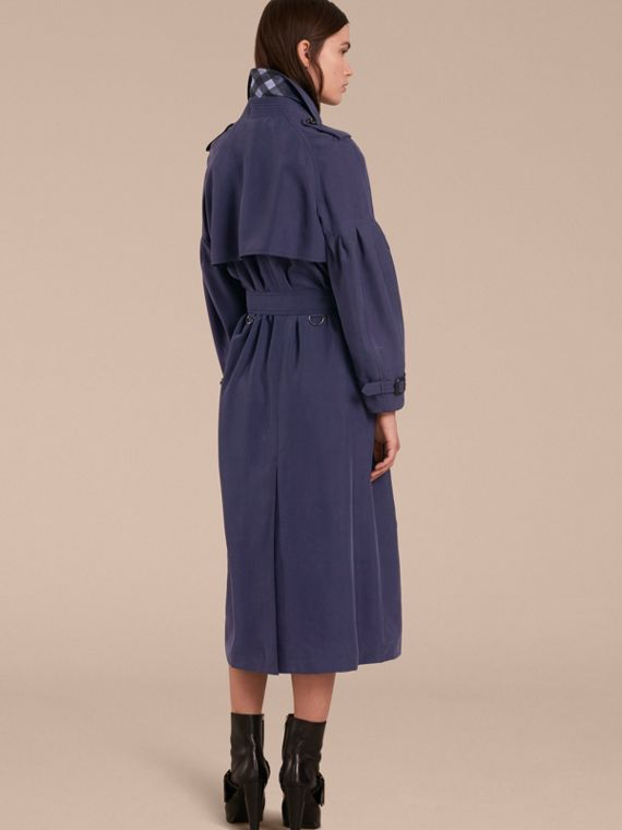 Oversize Silk Trench Coat with Puff Sleeves in Navy - cell image 2