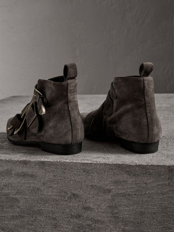 Buckle Detail Suede Ankle Boots in Dark Storm Grey - Women | Burberry United Kingdom - cell image 2
