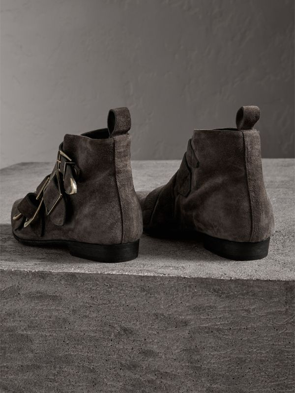 Buckle Detail Suede Ankle Boots in Dark Storm Grey - Women | Burberry - cell image 3