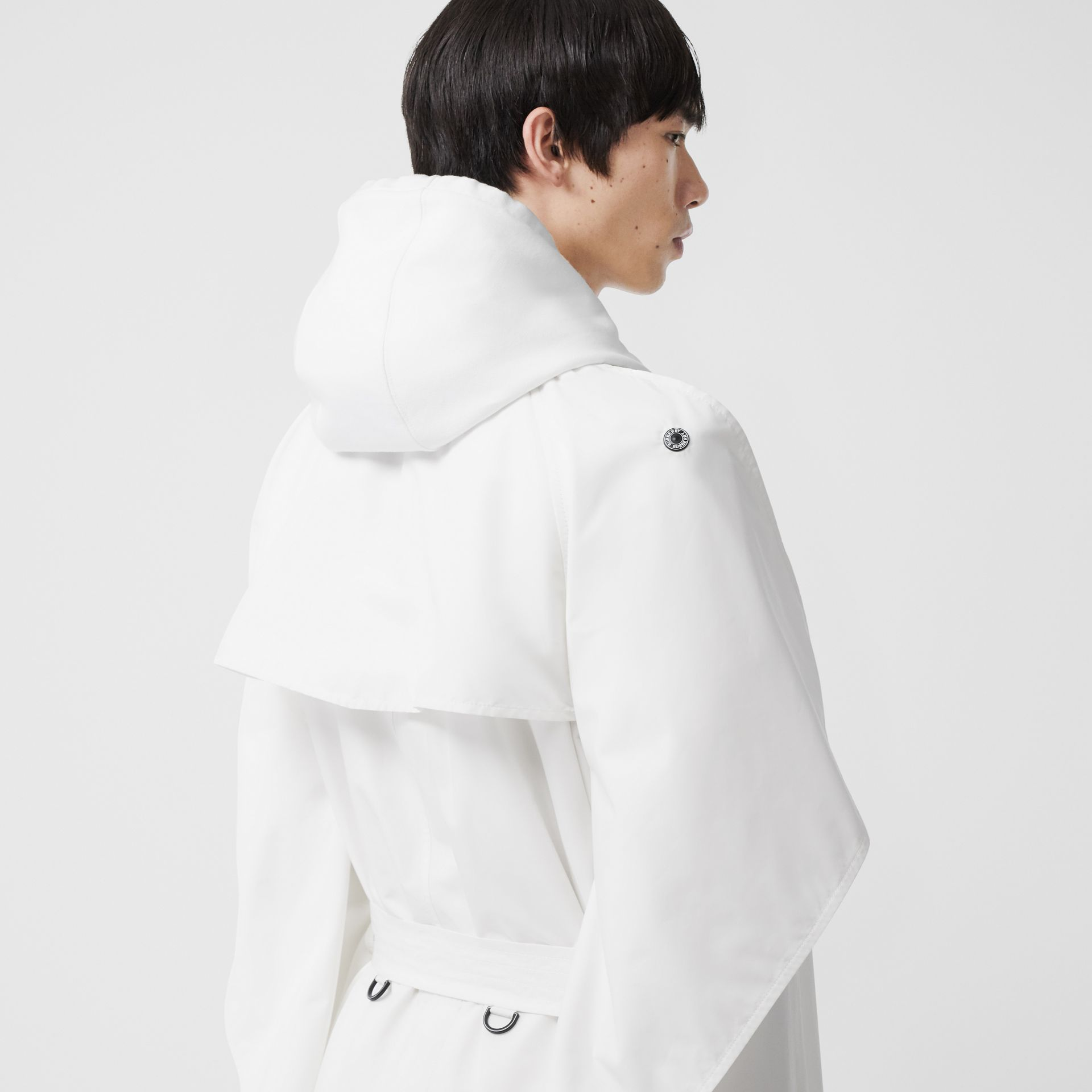 Cape Detail Technical Faille Reconstructed Trench Coat in Optic White - Men | Burberry - gallery image 3