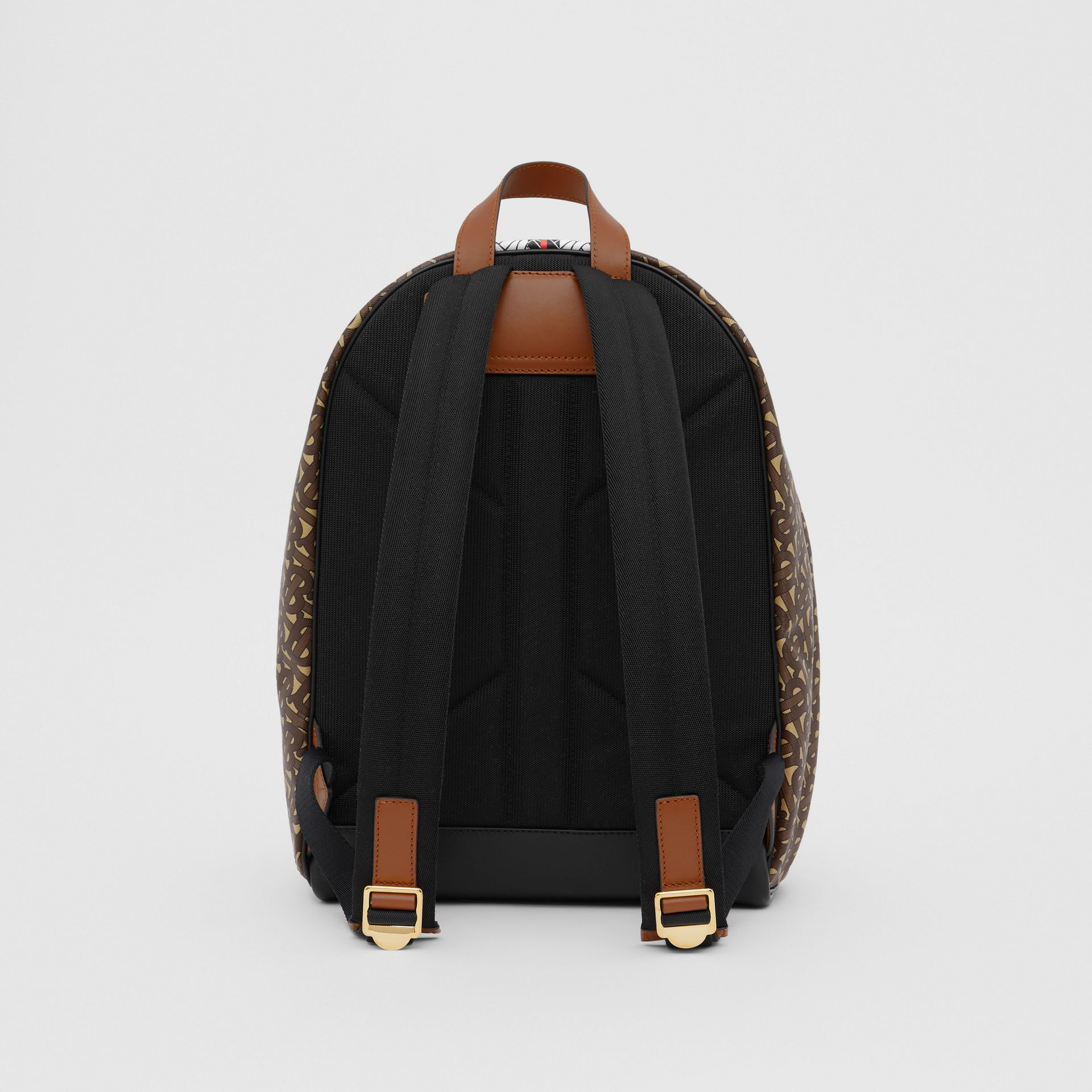Monogram Stripe Print E-canvas Backpack in Bridle Brown | Burberry - gallery image 9