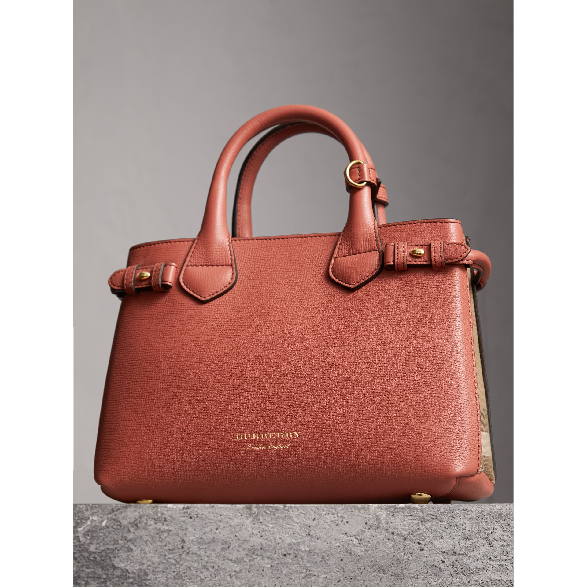 The Small Banner in Leather and House Check in Cinnamon Red - Women | Burberry - gallery image 6