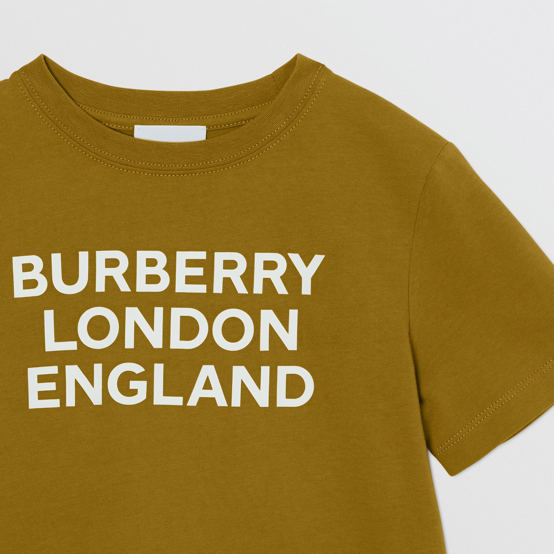 Logo Print Cotton T-shirt in Olive | Burberry United Kingdom - gallery image 5