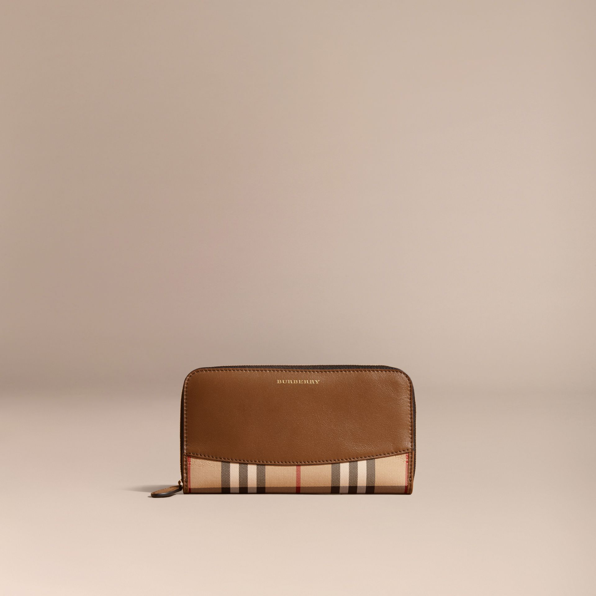 Tan Horseferry Check and Leather Ziparound Wallet Tan - gallery image 6