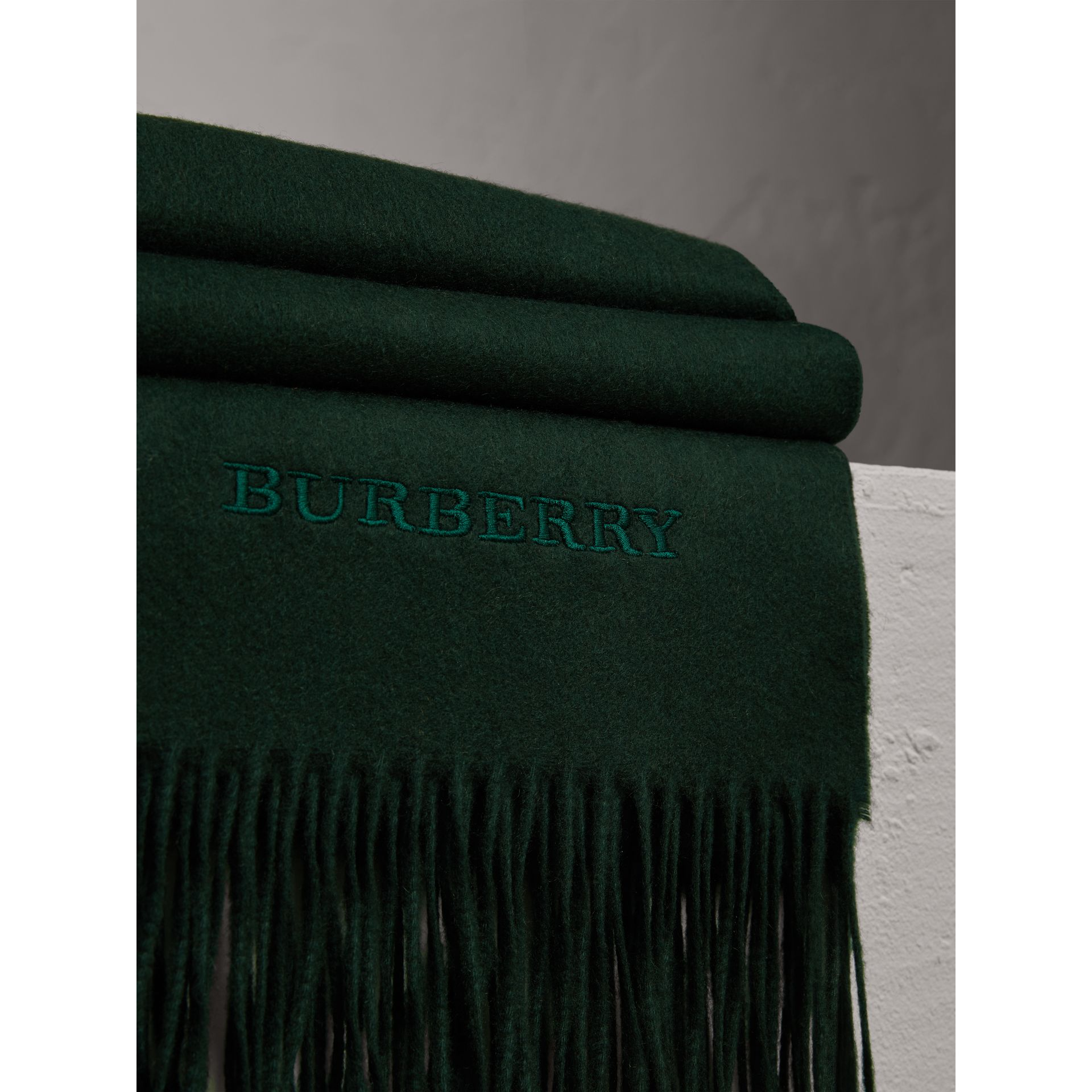 Cashmere Blanket in Dark Forest Green | Burberry Australia - gallery image 1