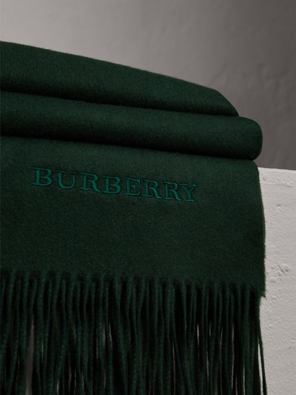 Cashmere Blanket in Dark Forest Green | Burberry Australia - cell image 1