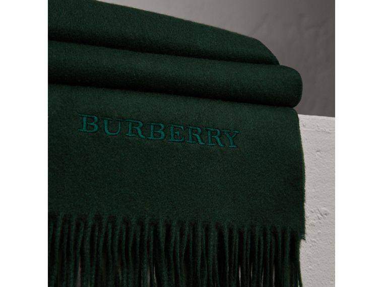 Cashmere Blanket in Dark Forest Green | Burberry - cell image 1
