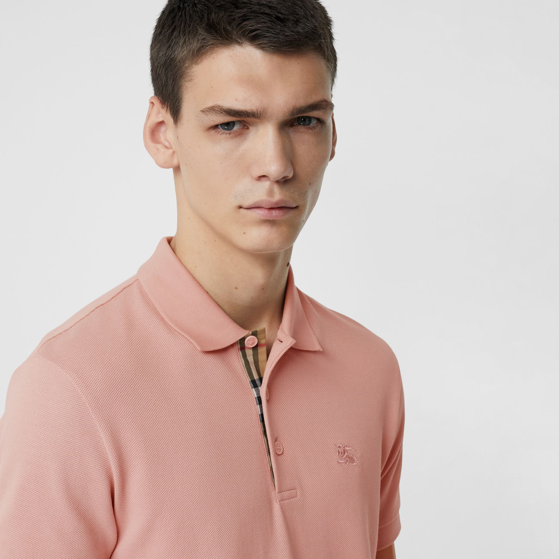 Check Placket Cotton Polo Shirt in Chalk Pink - Men | Burberry - gallery image 1