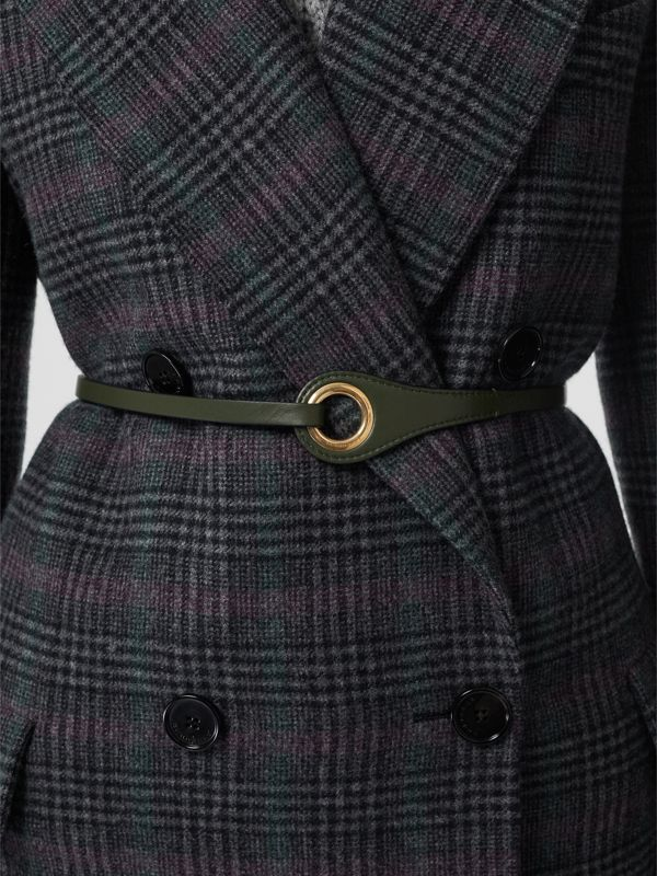 Grommet Detail Lambskin Belt in Dark Olive - Women | Burberry Australia - cell image 2