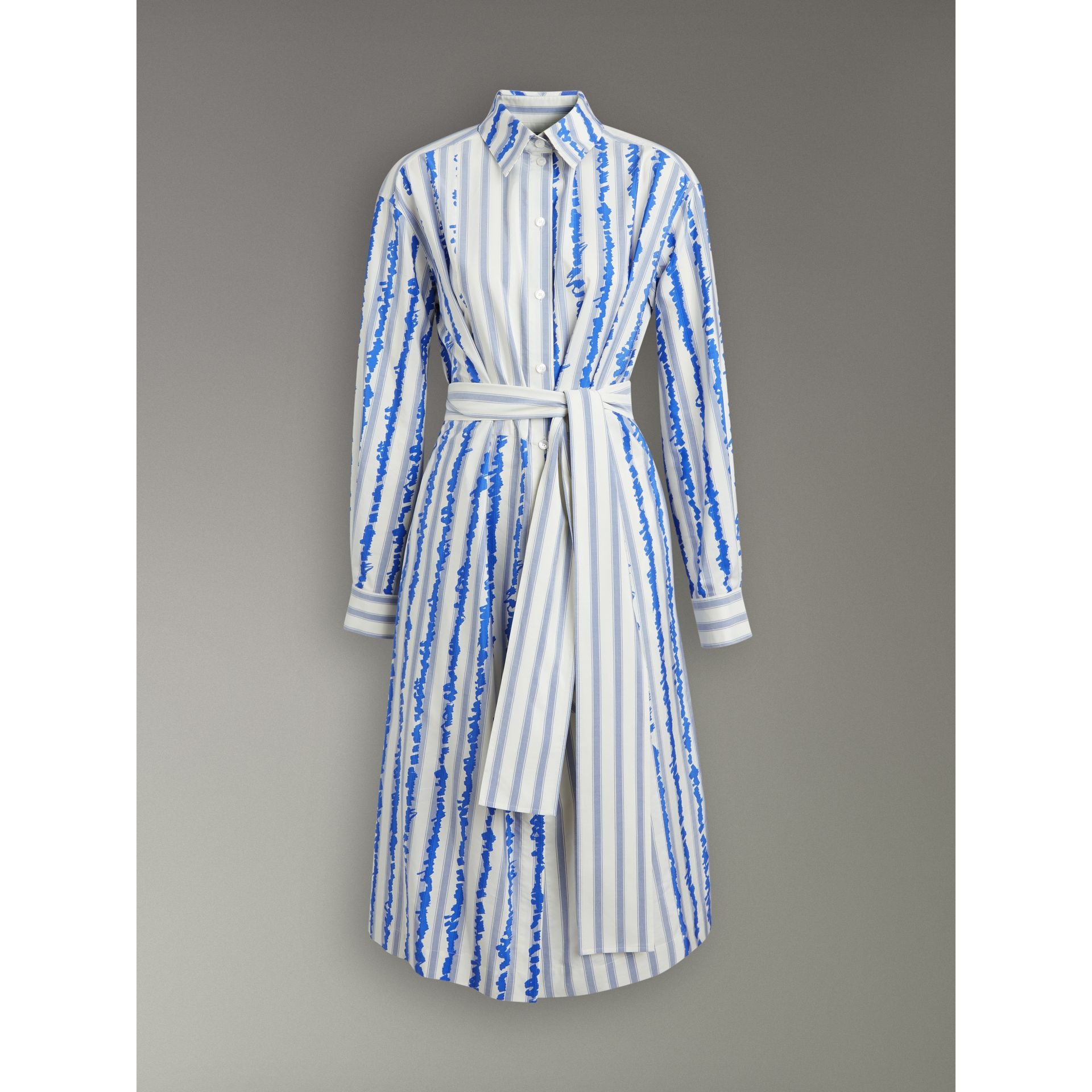 Scribble Stripe Silk Cotton Shirt Dress in Navy - Women | Burberry - gallery image 3