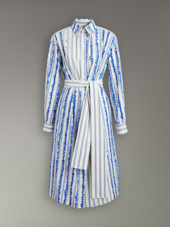 Scribble Stripe Silk Cotton Shirt Dress in Navy - Women | Burberry United Kingdom - cell image 3