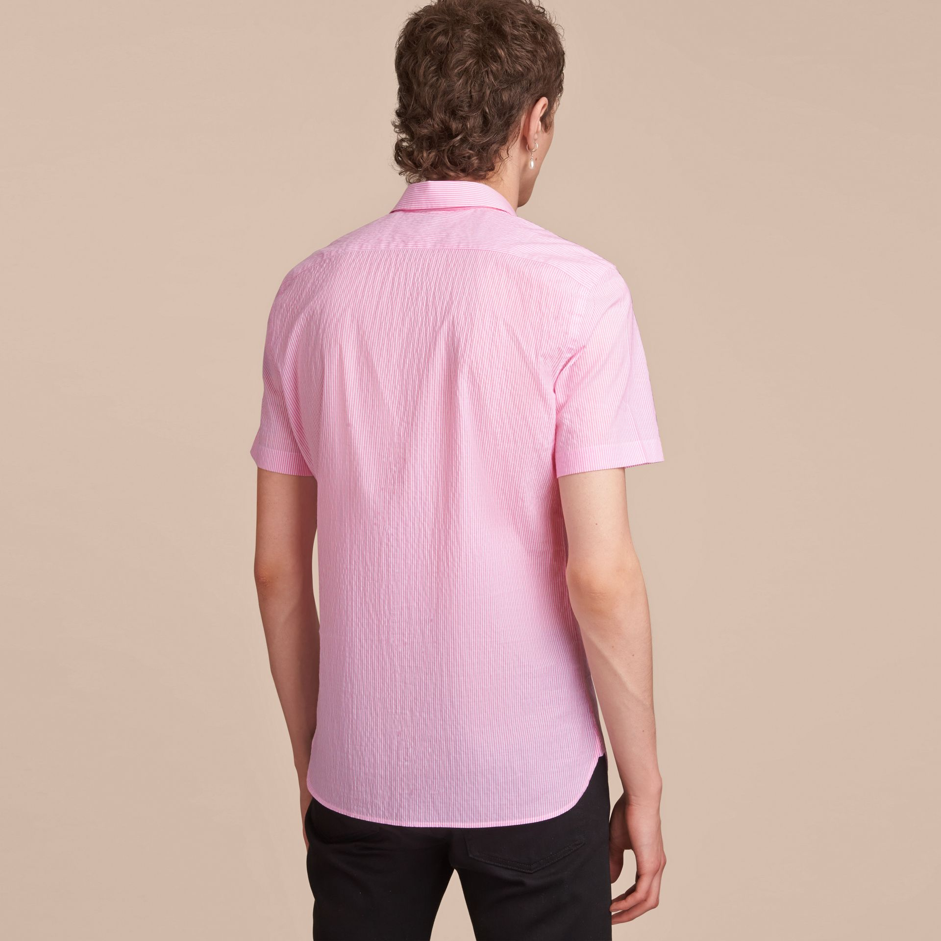 Short-sleeve Striped Cotton Seersucker Shirt in Pale Pink - Men | Burberry - gallery image 3