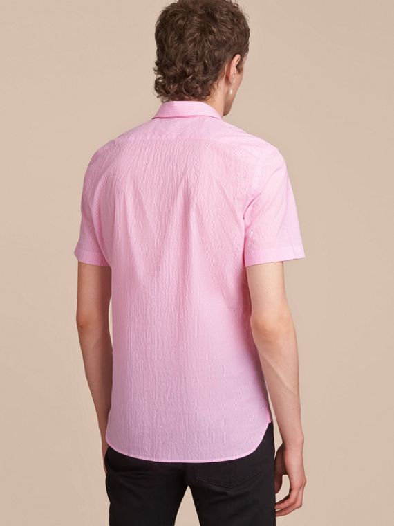 Short-sleeve Striped Cotton Seersucker Shirt in Pale Pink - Men | Burberry - cell image 2