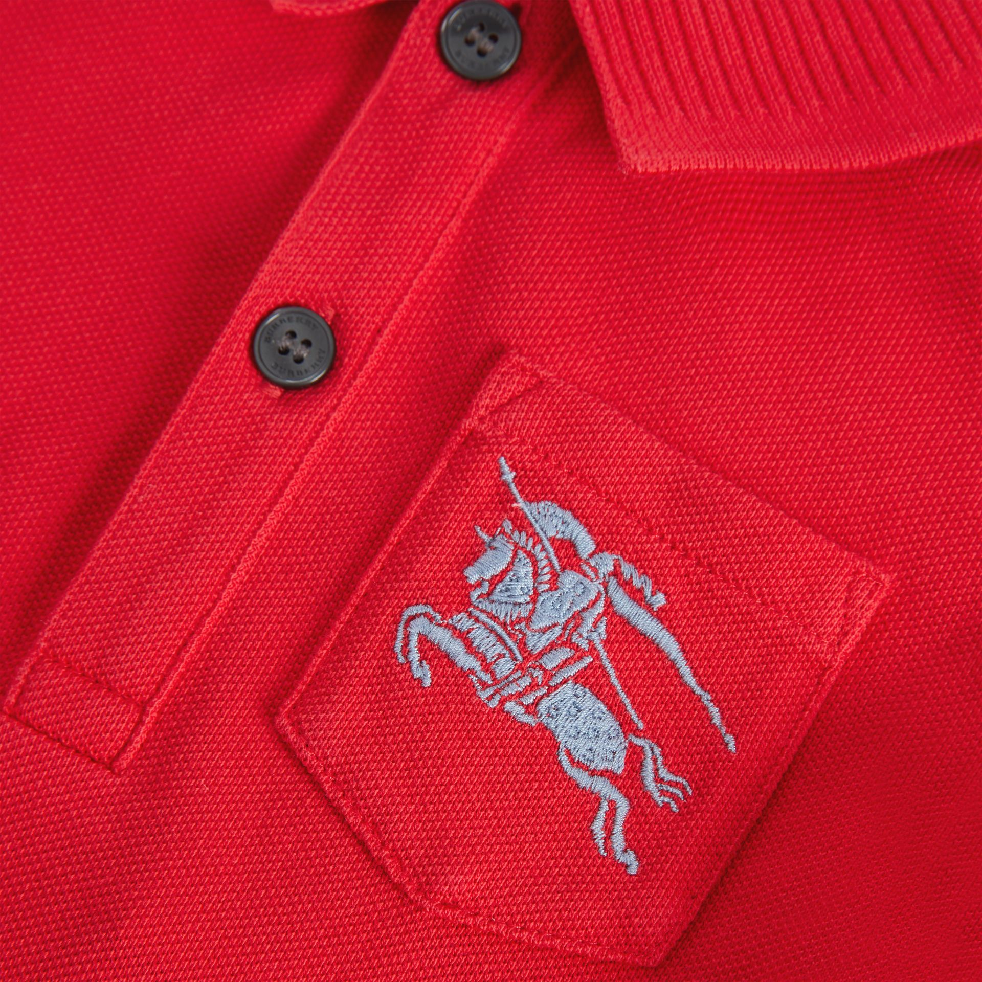 EKD Logo Cotton Piqué Polo Shirt in Bright Red - Children | Burberry United Kingdom - gallery image 1