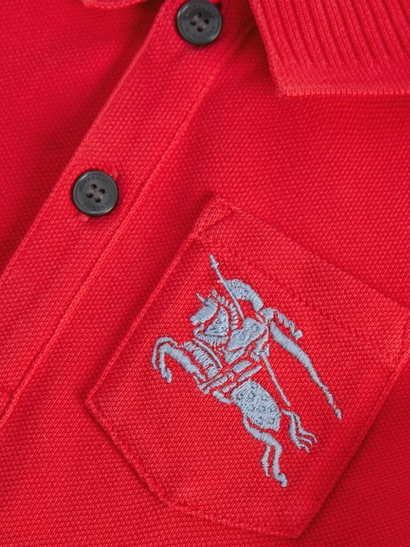EKD Logo Cotton Piqué Polo Shirt in Bright Red - Children | Burberry United Kingdom - cell image 1
