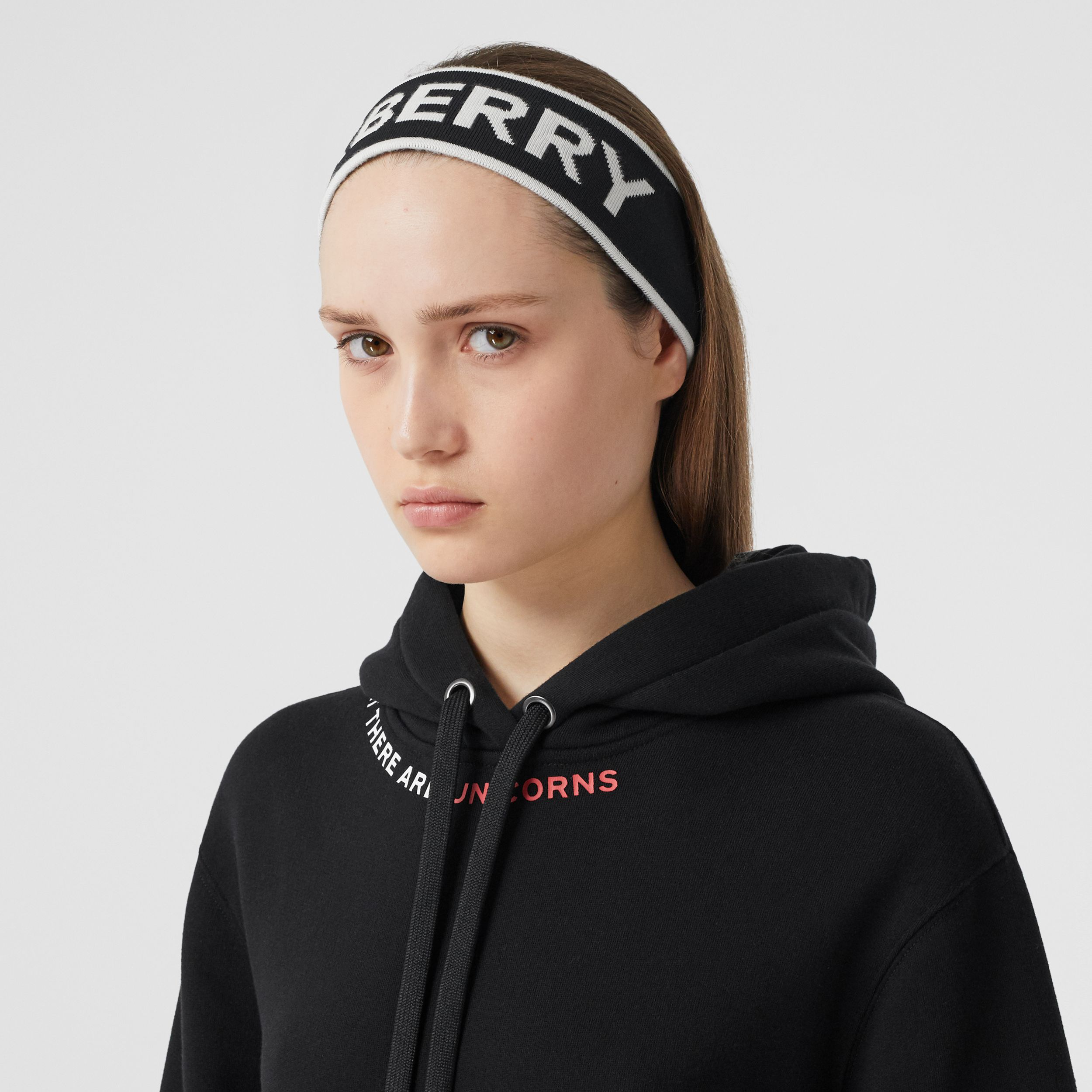 Logo Intarsia Wool Blend Headband in Black/white | Burberry - 3