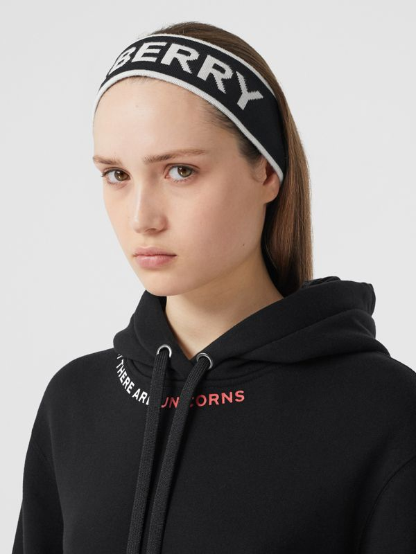 Logo Intarsia Wool Blend Headband in Black/white | Burberry Canada - cell image 2