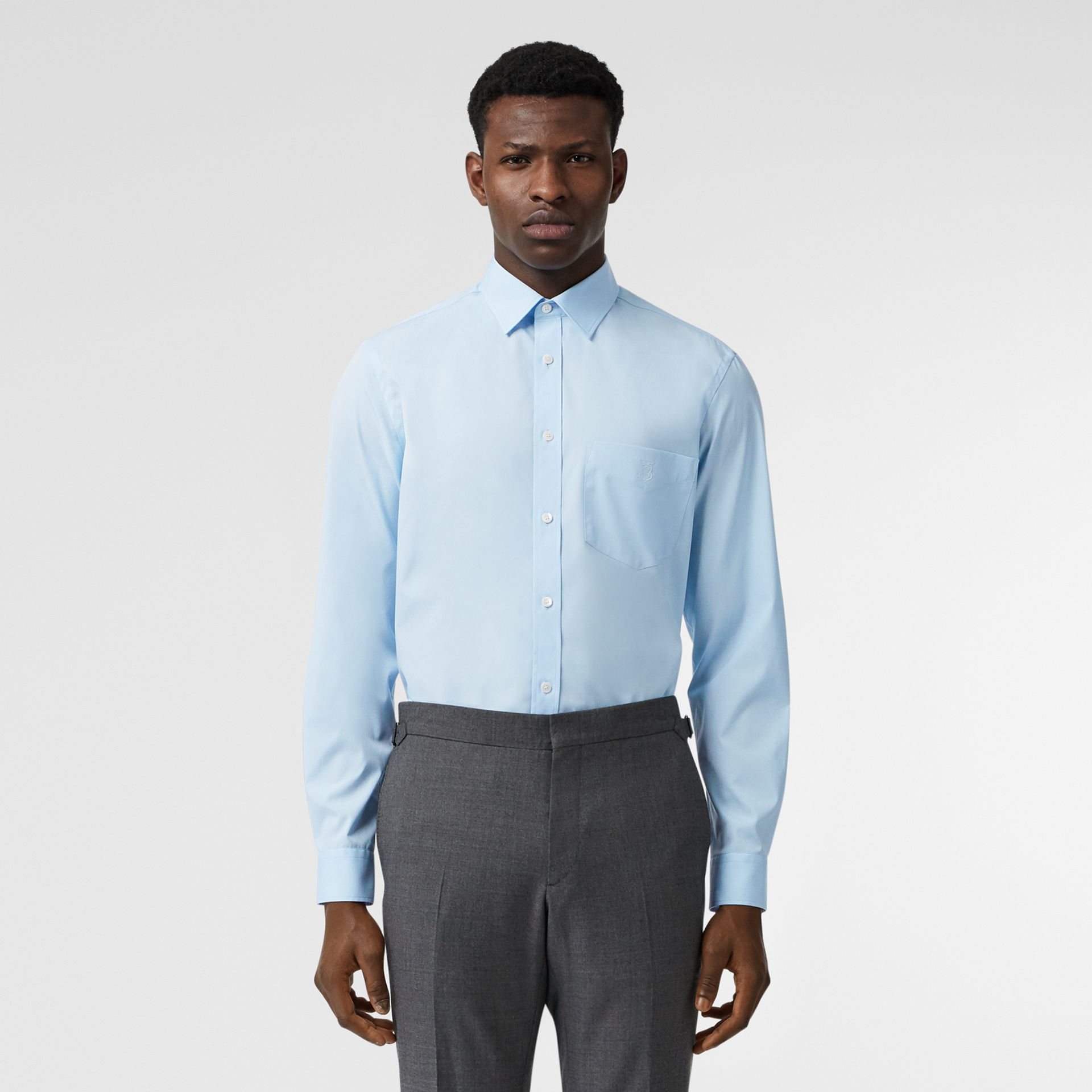 Monogram Motif Stretch Cotton Poplin Shirt in Pale Blue - Men | Burberry Canada - gallery image 5