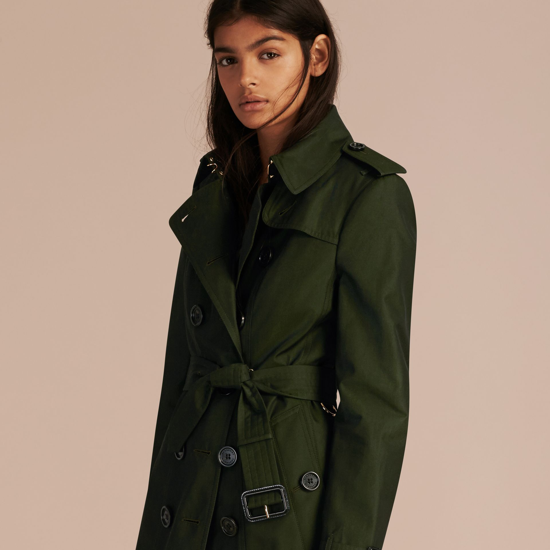 Dark cedar green Cotton Gabardine Trench Coat with Detachable Fur Trim Dark Cedar Green - gallery image 6
