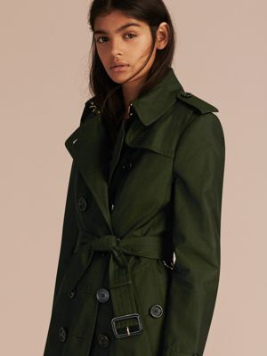 DARK CEDAR GREEN Cotton Gabardine Trench Coat with Detachable Fur Trim 产品图片51
