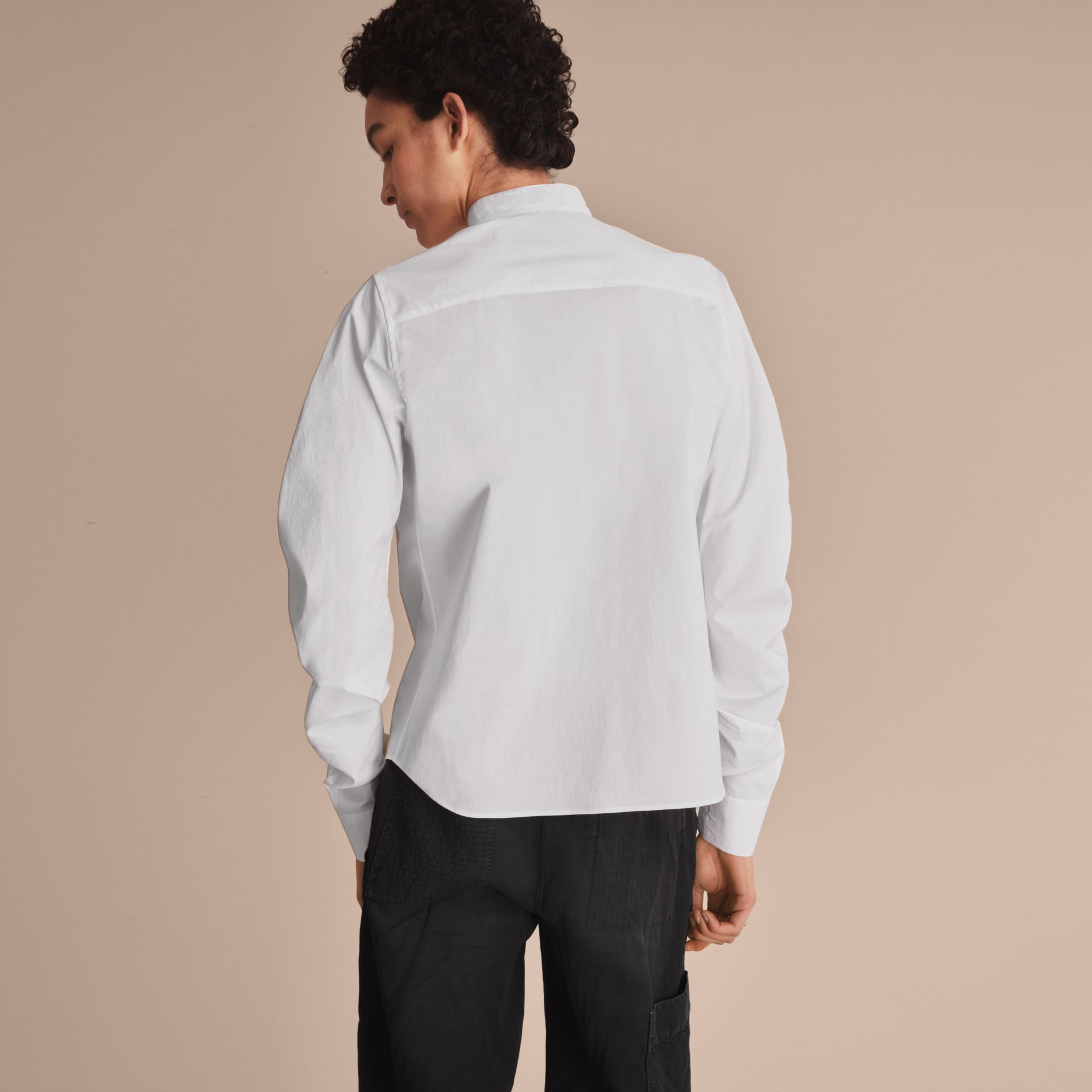 Pintuck Bib Stretch Cotton Shirt in White - gallery image 3